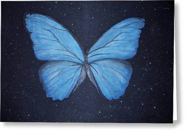Greeting Card featuring the painting The Blue Butterfly by Edwin Alverio