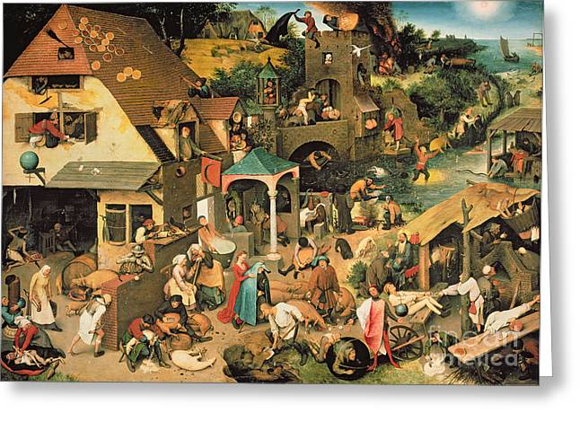 The Blue Cloak Greeting Card by Pieter the Elder Bruegel