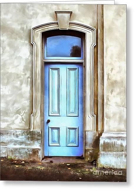 Greeting Card featuring the painting The Blue Door by Edward Fielding