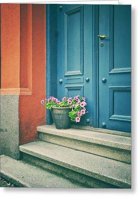 The Blue Door Greeting Card by Karen Stahlros