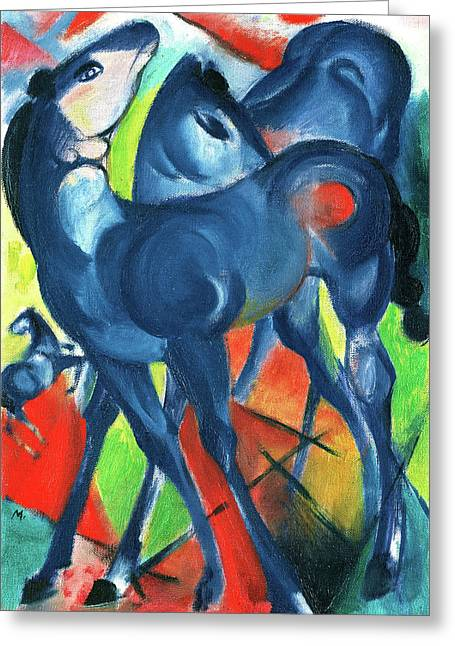 The Blue Foals Two Blue Foals On A Bright Background Greeting Card by Charlotte Richardson
