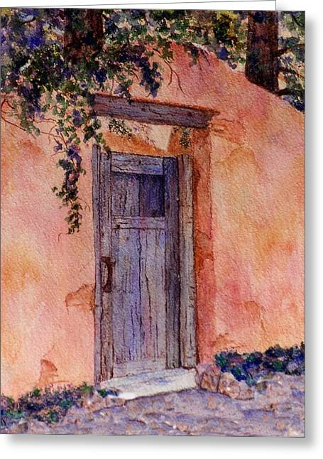 The Blue Gate Greeting Card by Ann Peck