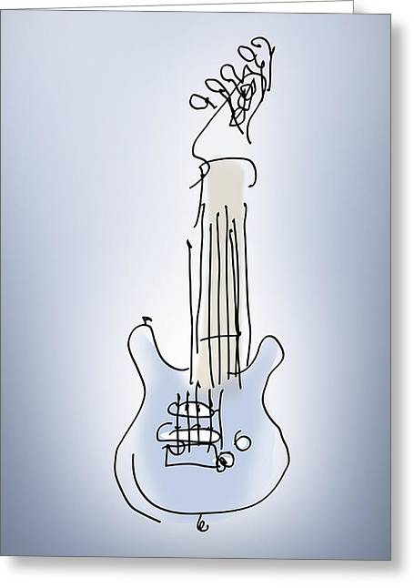 Greeting Card featuring the digital art The Blue Guitar by Keith A Link