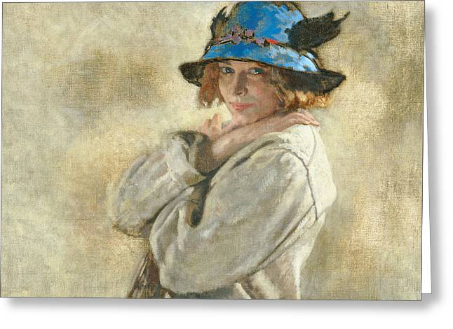 The Blue Hat Greeting Card by Sir William Orpen