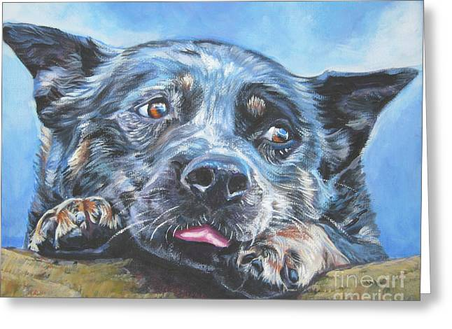 Greeting Card featuring the painting The Blue Heeler by Lee Ann Shepard