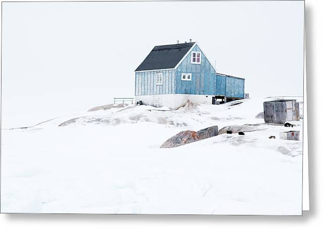 The Blue House At Oqaatsut Greeting Card by Janet Burdon