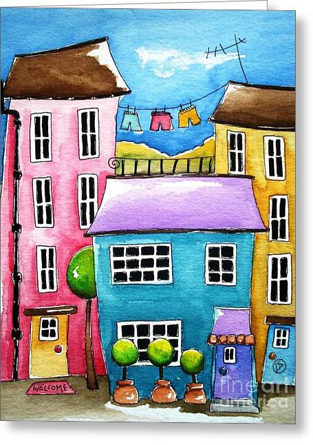 The Blue House Greeting Card by Lucia Stewart