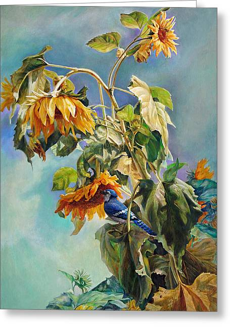 The Blue Jay Who Came To Breakfast Greeting Card by Svitozar Nenyuk