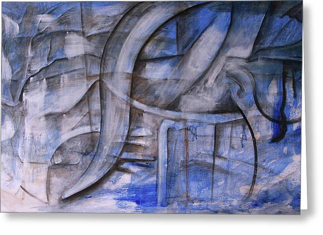 Greeting Card featuring the painting The Blue Machine by Keith A Link
