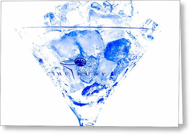 The Blue Ruby Martini Greeting Card by Rene Triay Photography