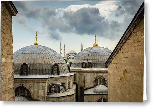 The Blue Mosque From The Aya Sofia Greeting Card by Anthony Doudt
