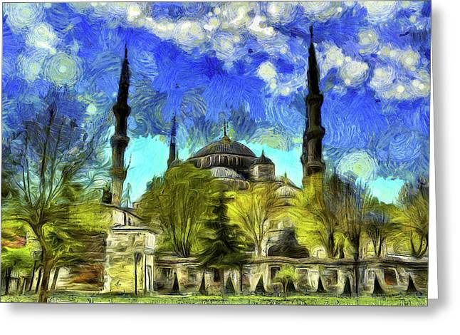 The Blue Mosque Istanbul Van Gogh Greeting Card