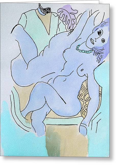 The Blue Nude Greeting Card