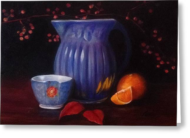 The Blue Pitcher Greeting Card by Anne Barberi
