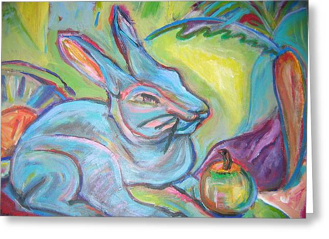 The Blue Rabbit Greeting Card by Marlene Robbins