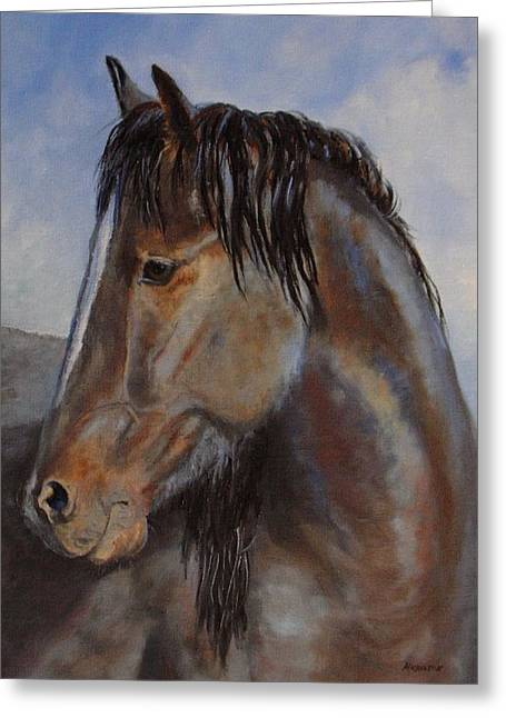 The Blue Roan Greeting Card by Debra Mickelson