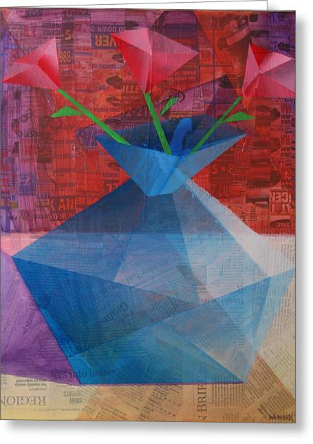 Greeting Card featuring the painting The Blue Rose Vase - Mixed Media by Mark Webster