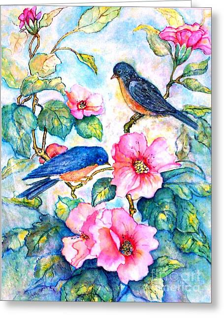 The Bluebirds Are Back Greeting Card by Norma Boeckler