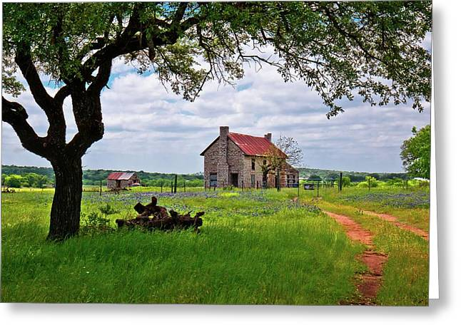 Greeting Card featuring the photograph The Bluebonnet House by Linda Unger