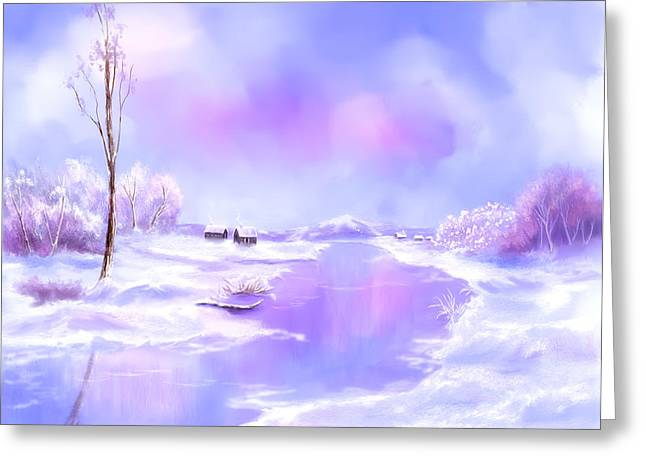 Greeting Card featuring the painting The Blues Of Winter by Sena Wilson