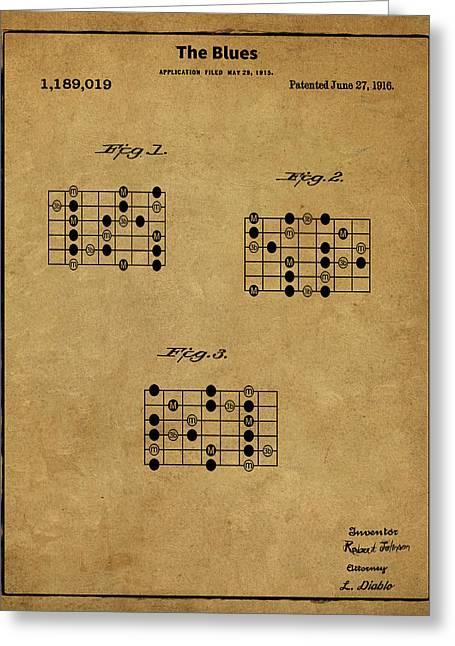 The Blues Patent - Robert Johnson Sepia Greeting Card