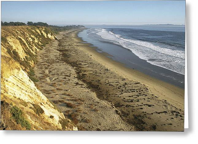 The Bluffs Of Ellwood Beach At Coal Oil Greeting Card