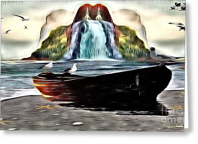 The Boat By The Riverbanks Waterfall Greeting Card