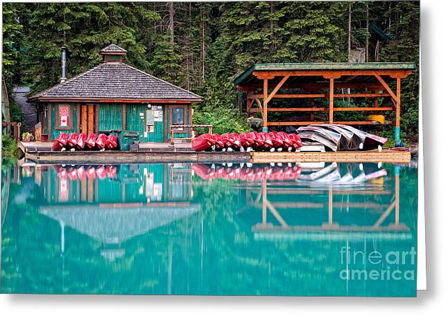 The Boat House At Emerald Lake In Yoho National Park Greeting Card