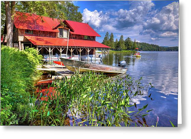 Greeting Card featuring the photograph The Boathouse At Covewood by David Patterson