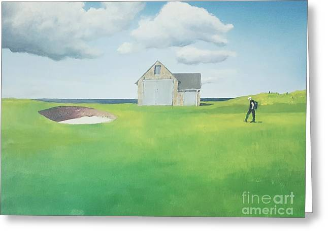 Greeting Card featuring the painting The Boathouse by Tim Johnson