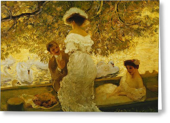 Assist Greeting Cards - The Boating Trip Greeting Card by Gaston de Latouche
