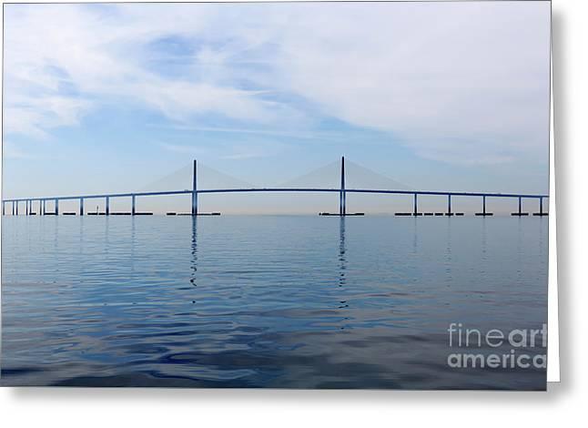 The Bob Graham Sunshine Skyway Bridge Tampa Bay Greeting Card by Louise Heusinkveld