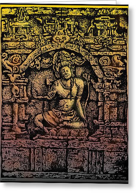 The Bodhisattva Samantabhadra Borobudur Java Greeting Card by Larry Butterworth