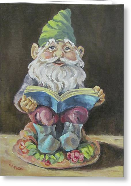 The Book Gnome Greeting Card by Cheryl Pass