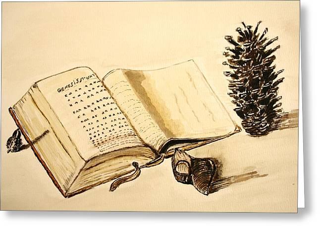 The Book Of Books. Greeting Card by Shlomo Zangilevitch