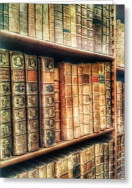 The Bookcase Greeting Card by Isabella F Abbie Shores FRSA
