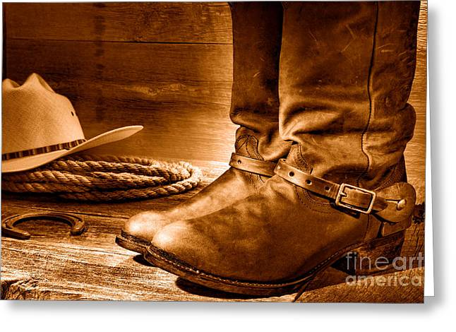 The Boots - Sepia Greeting Card by Olivier Le Queinec