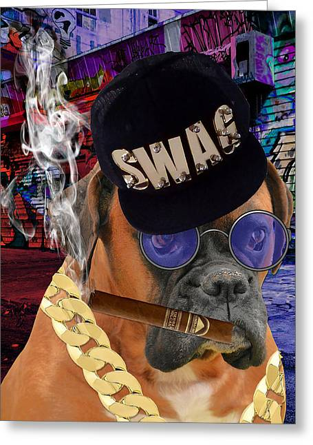 Greeting Card featuring the mixed media The Boss Boxer by Marvin Blaine