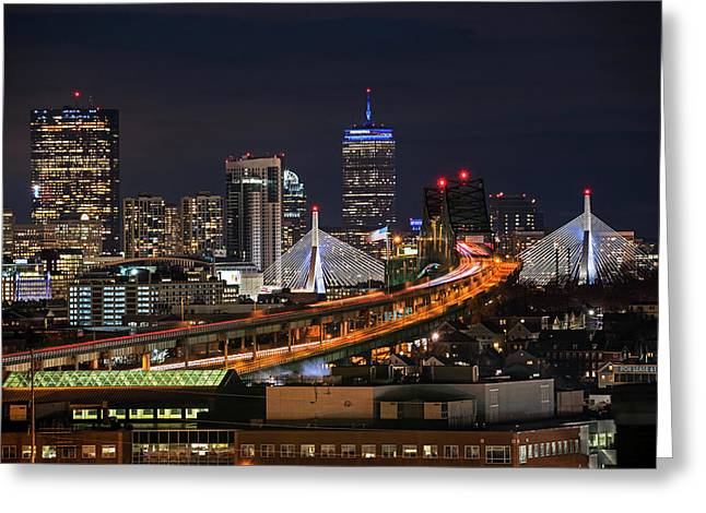 The Boston Skyline Boston Ma Full Zakim Greeting Card