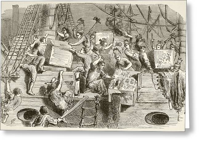The Boston Tea Party, December 16 Greeting Card by Vintage Design Pics