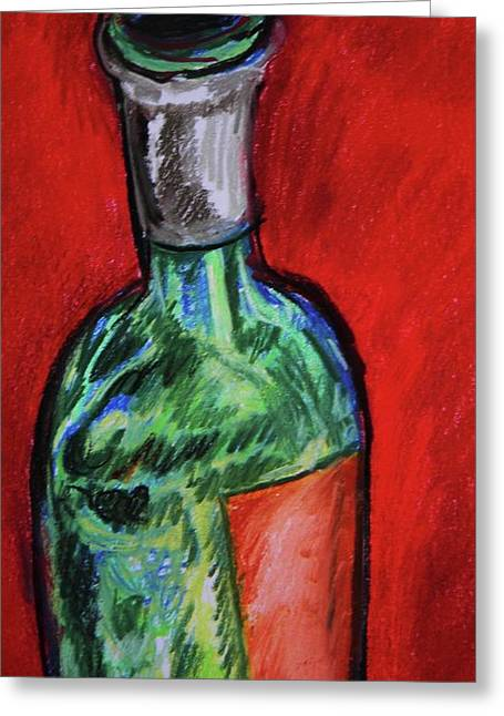 Wine-bottle Pastels Greeting Cards - The Bottle is Empty Greeting Card by Emily Michaud