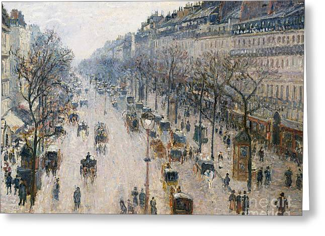 The Boulevard Montmartre On A Winter Morning, 1897  Greeting Card by Camille Pissarro