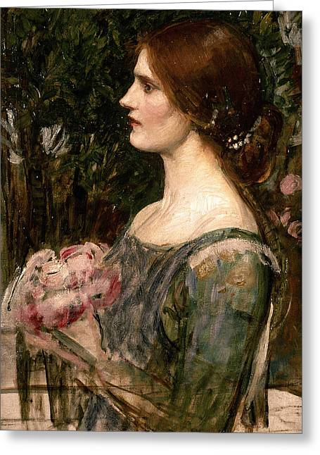 The Bouquet Greeting Card by John William Waterhouse