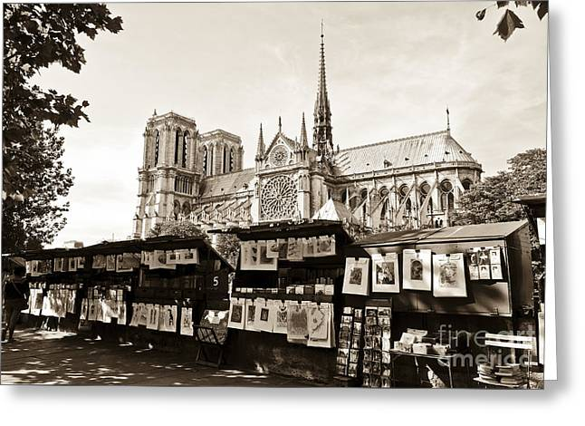 The Bouquinistes And Notre-dame Cathedral Greeting Card by Perry Van Munster