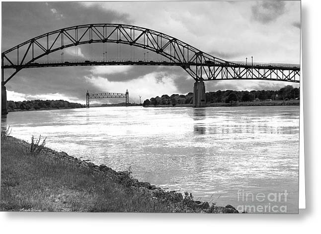 Greeting Card featuring the photograph The Bourne And Railroad Bridges by Michelle Wiarda