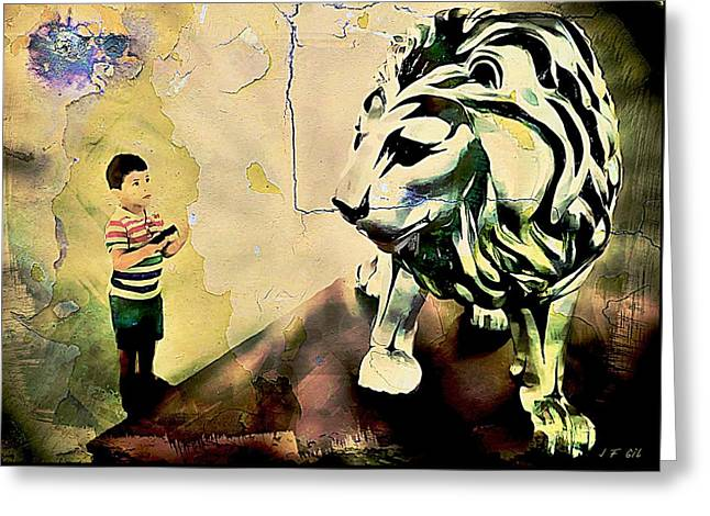 The Boy And The Lion Graffiti Creator,street-art Graffiti,street-art,graffiti Art Street,banksy Art, Greeting Card