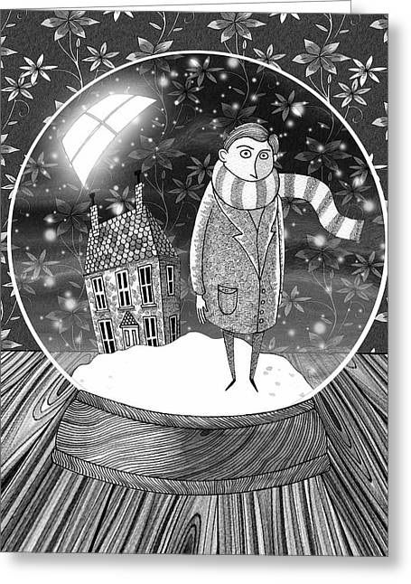 The Boy In The Snow Globe  Greeting Card