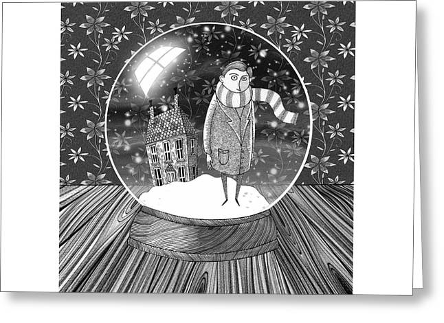 The Boy In The Snow Globe  Greeting Card by Andrew Hitchen