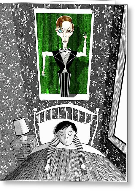 The Boy Who Dreamed Of David Bowie  Greeting Card by Andrew Hitchen