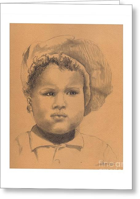 The Boy Who Hated Cheerios -- Portrait Of African-american Child Greeting Card